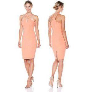 Likely Keyhole Halter Bodycon Mini Dress Peach 0